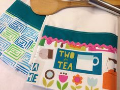 Tea Mug Towels (flour sack, hand, kitchen towel), set of 2, blue, Birthday or housewarming gift gift on Etsy, $21.00