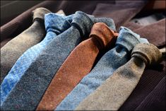Woolen ties - a must for any male wardrobe. Get old ones from a charity store if you can find them!