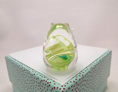 Granny Apple Green Blown Glass Cat Figurine Glass by MissMacGlass, $35.00