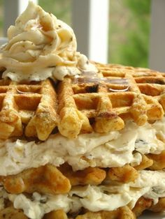 Carrot Cake Waffles with a maple nut cream cheese spread.