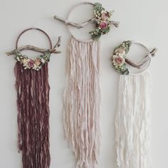 Meadow & Moss on Etsy https://www.etsy.com/ca/listing/540949038/dreamcatcher-trio-set-of-dreamcatchers #bohemian #dreamcatcher #wallhanging #botanical