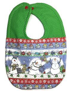 BABY COTTON CLOTH FUN BIB DRIBBLE CHRISTMAS//XMAS SANTA,SNOWMAN,REINDEER,ELF