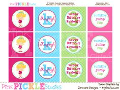 Gymnastics 2 Birthday Personalized Party Circles to make DIY Cupcake Toppers or Stickers Printable. $8.00, via Etsy.