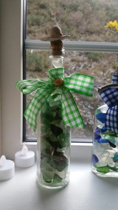 Sea glass in a recycled bottle with cork, green checked ribbon, golden button, motherpearl and one sea snail shell. Sea Snail, Snail Shell, Sea Glass Art, Sea Glass Jewelry, Artwork For Home, Coastal Decor, Cork, Recycling, Etsy Seller