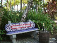 A bench to linger on at Villa La Fiaca
