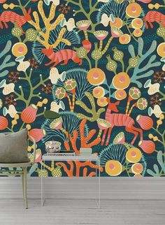 Hanna Werning Wandbild Koralläng von Boras Luxury Wallpaper, Home Wallpaper, Colorful Wallpaper, Designer Wallpaper, Countryside Style, Design Studio, Woodland Animals, Colour Schemes, Home