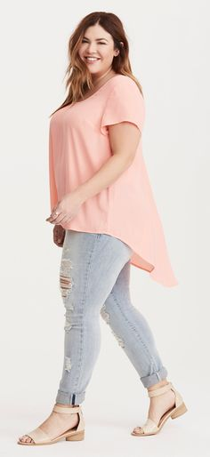 Plus Size Georgette Hi-Lo Inset Top