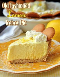 Old Fashioned Lemon Icebox Pie. This is a lemon icebox pie just like Grandma used to make. The filling freezes to a silky, luscious, creamy texture with plenty of lemony tart flavor From: Rock Recipes, please visit 13 Desserts, Make Ahead Desserts, Lemon Desserts, Lemon Recipes, Pie Recipes, Sweet Recipes, Lemon Pie Recipe, Yummy Treats, Sweet Treats