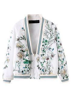 cor branca moda roupas femininas 2014 phoenix flores gola quimono impressão zipper casaco feminino cardigan outerwear em Jaquetas Básicas - ...