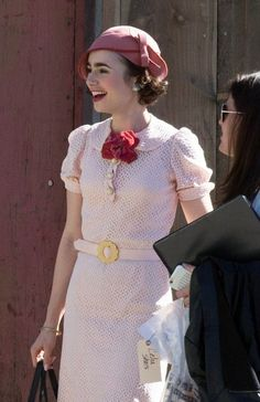 Lily Collins Photos - Lily Collins and Matt Bomer Perform on the Set of 'The Last Tycoon' - Zimbio