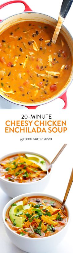 This delicious and flavorful soup is super-easy to make, and it's ready to go in about 20 minutes! Even better!! | gimmesomeoven Cheesy Chicken Enchiladas, Chicken Enchilada Soup, Chicken Soups, Cooking Recipes, Healthy Recipes, Healthy Soup, Easy Mexican Food Recipes, Easy Soup Recipes, Comida Latina