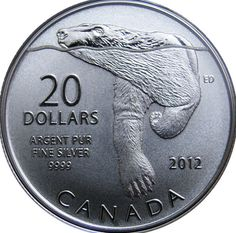Swimming polar bear illustration featured on silver coin by the Royal Canadian Mint Mint Coins, Silver Coins, Bear Stencil, Polar Bear Illustration, Canadian Things, Valuable Coins, Coin Prices, Coin Art, Commemorative Coins