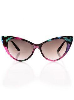Dark Flowers Cateye Sunglasses at ShopPlasticland.com