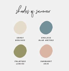 Beautiful neutral color palette with peach, green and blue. Scheme Color, Colour Pallette, Colour Schemes, Color Patterns, Color Combos, Summer Colour Palette, Summer Colours, Creative Studio, Palettes Color