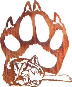 Wolf & Large Paw Print Laser Cut Metal Wall Art