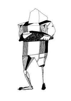 Francois Pretorius - Handsome with Pretty Eyes (2014) #art #illustration #b&w #design #africa #fineart #disability #prosthetics