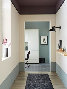 Garage To Living Space, Living Spaces, Living Room, Entry Way Design, Wall Design, Two Tone Walls, Entry Hallway, Entryway, Interior Decorating