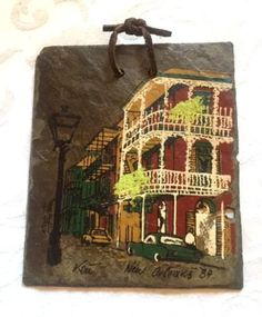 Hand-Painted Signed Roofing Slate Tile From #NewOrleans #ChartresStreet 1984 by UrbanVintageChic on Etsy