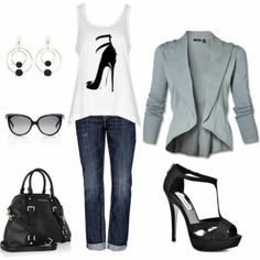 Great outfit! Love the heels on the shirt...