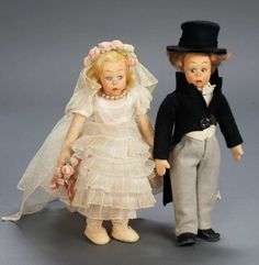 Apples - An Auction of Antique Dolls: 32 Pair,Italian Felt Miniature Bride and Groom Dolls by Lenci