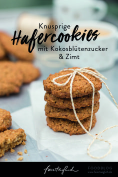Crunchy oatmeal cookies with coconut blossom sugar and cinnamon . the good life - feiertäglich - gericht Food Challenge, Biscuit Cookies, Oatmeal Cookies, Low Carb Desserts, Christmas Baking, Clean Eating Snacks, Bakery, Sweet Treats, Vegan Recipes