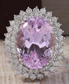 ESTATE 32.47CTW NATURAL PINK KUNZITE AND DIAMOND RING IN 14K WHITE GOLD #Cocktail