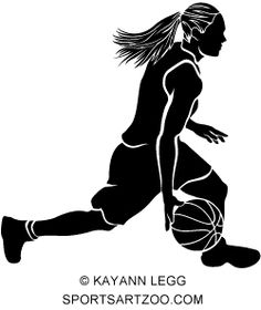 Female Basketball Dribble Sihouette With Ball Stencil Basketball