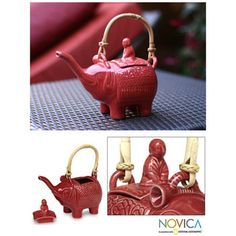 @Overstock.com - Ceramic 'Buddha and the Ruby Elephant' Teapot (Indonesia) - This red, ceramic elephant teapot combines culture, faith, and practicality with the image of Buddha on a pachyderm. Capturing true artistry through hand construction, its safe for the dishwasher and microwave, making cooking and cleanup fast and easy.  http://www.overstock.com/Worldstock-Fair-Trade/Ceramic-Buddha-and-the-Ruby-Elephant-Teapot-Indonesia/3374191/product.html?CID=214117 $29.24