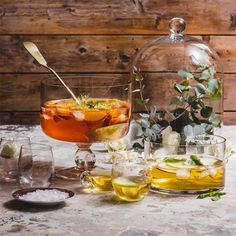 Thirsty revellers prefer to help themselves to punch. Make the punch less potent with the addition of soda water or fruit juice. Cocktail Desserts, Easy Cocktails, Summer Drinks, Fun Drinks, Rose Sangria, Christmas Lunch