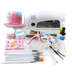 Fashion Zone Pink Cutter Nail Art 9W UV Gel Lamp Dryer Top Coat Kit * Want additional info? Click on the image.