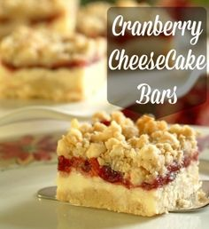 Cranberry Cheesecake Bars - Got a can of cranberry sauce in the pantry? Use it to make these for the fourth!