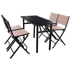 9a2e4d2f14d Amazon.com   Giantex 5 PCS Patio Outdoor Folding Chairs Rect Table  Furniture Set Backyard Pool Side   Patio