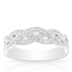 Braid design diamond ring, 1/4 carat total weight, in 14K white gold.