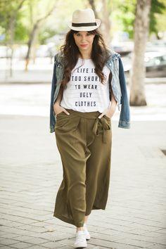 Culotte, pantalon culotte, pantalones culottes, look, outfit, lifestyle, fashion, blog de moda, blogger, cazadora vaquera, denim, moda