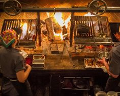 Grillworks Grills, Cult Favorite of Chefs & Cooks - Bon Appétit Grill Restaurant, Open Kitchen Restaurant, Restaurant Trends, Rustic Restaurant, Restaurant Concept, Restaurant Design, Restaurant Fireplace, Wood Grill, Fire Grill