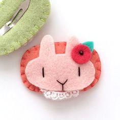 Felt Hair Clips Cute Hair Clips Pink Rabbit by MangoMommyHairClips