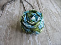Fabric Flower Necklace on chain. Rosette is in fun Sky by amblebee