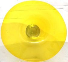 "23"" Hand Blown Art Glass Table Platter Plate Bowl Yellow w/ Wall Hanging Mount"