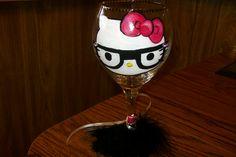 Hello Kitty Nerd wine glass~   w/ boa and rhinestone on glasses- 35.00  www.kissmyglassbykellie.com