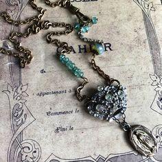 Vintage royal crown apatite assemblage necklace ooak by Alpha Female Studio.