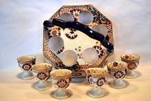 Rare Earthenware  6 Egg Cups with Handled Holder ~ Imari Pattern