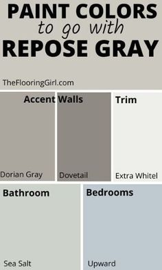 Repose Gray from Sherwin Williams - Fabulously Neutral Neutral Paint Colors, Paint Color Schemes, Best Paint Colors, Interior Paint Colors, Paint Colors For Home, Gray Wall Colors, Home Color Schemes, Neutral Kitchen Colors, Office Paint Colors