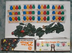 Vintage GE Glow Bright Christmas Lights x 2 Boxes 50 Lights Total NOS
