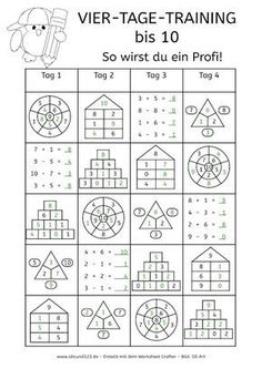Four-day math training, numbers up to worksheet math to dyscalculia … - Education Science Math For Kids, Fun Math, Math Games, Math Activities, 1st Grade Math, Kindergarten Math, Teaching Math, Montessori Math, Montessori Materials
