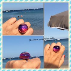 Handmade glass ring with two colored oil  Giranelli.hu