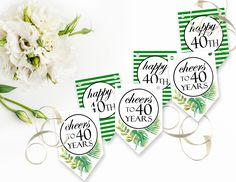 Printable 40th Birthday Banner, Printable Cheers to 40 Years Banner, Green and White Stripe Greenery Instant Download by sunshinetulipdesign on Etsy