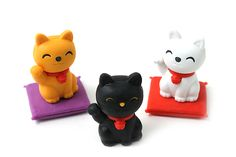 Iwako Kokeshi Dolls and Fortune Cats Novelty Eraser - 7 Piece Set - I don't know how I could use these and rub these cute lil' guys out!