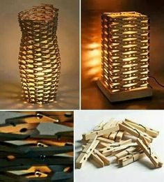 Clothespin's Lamp. Lampen aus Wäscheklammern Clothespin's Lamp . Lamps made of clothespins clothing ideas diy Craft Stick Crafts, Diy And Crafts, Arts And Crafts, Craft Ideas, Diy Ideas, Decor Ideas, Diy Luz, Luminaria Diy, Cool Art Projects
