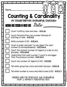 Kindergarten Standards - I Can Statements - Freebies Cardinality Kindergarten, Kindergarten Assessment, Math Assessment, Preschool Math, Kindergarten Classroom, Teaching Math, Classroom Ideas, Envision Math Kindergarten, Infants
