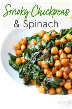 Vegan Smoky Chickpeas with Spinach is a healthy, budget-friendly meal that's full of flavor, packed with protein and perfect for an easy vegetarian meal! Vegetarian Recipes Easy, Vegetable Recipes, Cooking Recipes, Healthy Recipes, Best Spinach Recipes, Vegan Chickpea Recipes, Dip Recipes, Potato Recipes, Dinner Recipes
